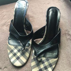 Burberry nova check kitten heel sandals